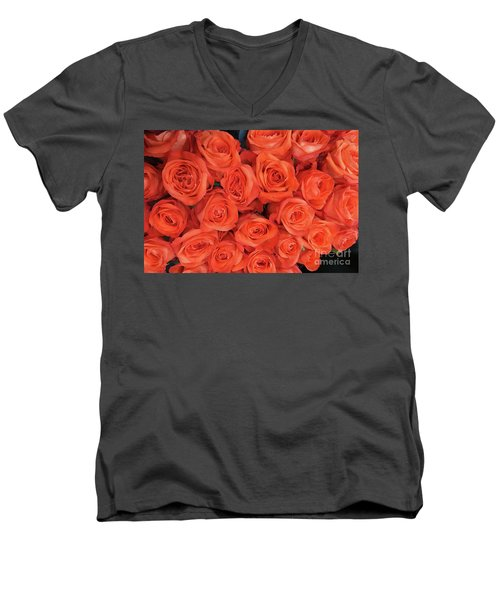 Bouquet Of The  Living Coral Roses Men's V-Neck T-Shirt