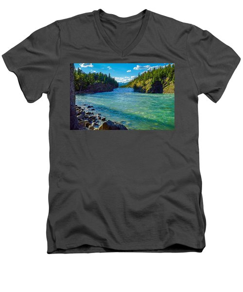 Bow River In Banff Men's V-Neck T-Shirt