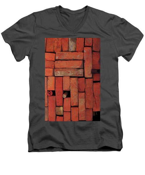Men's V-Neck T-Shirt featuring the photograph Bricks by Attila Meszlenyi