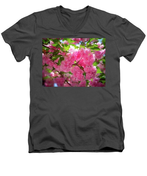 Bright Pink Blossoms Men's V-Neck T-Shirt