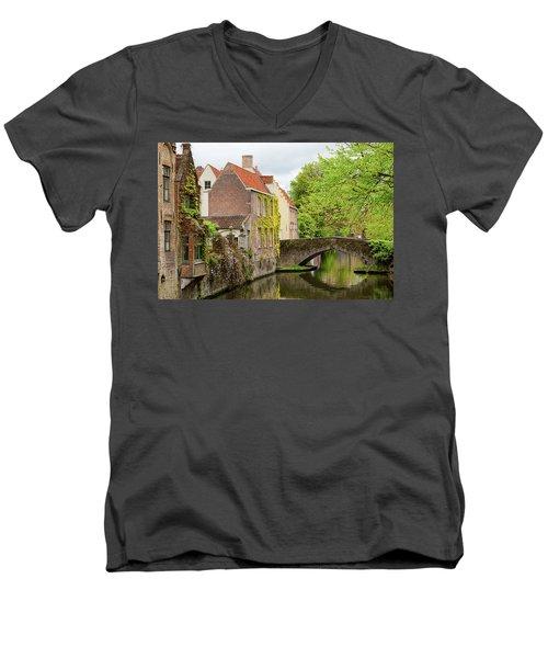 Bruges Footbridge Over Canal Men's V-Neck T-Shirt