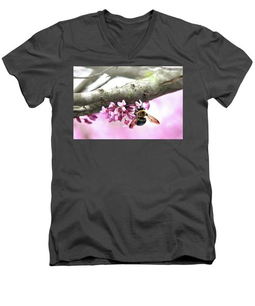 Bumblebee On Redbud Flower Men's V-Neck T-Shirt
