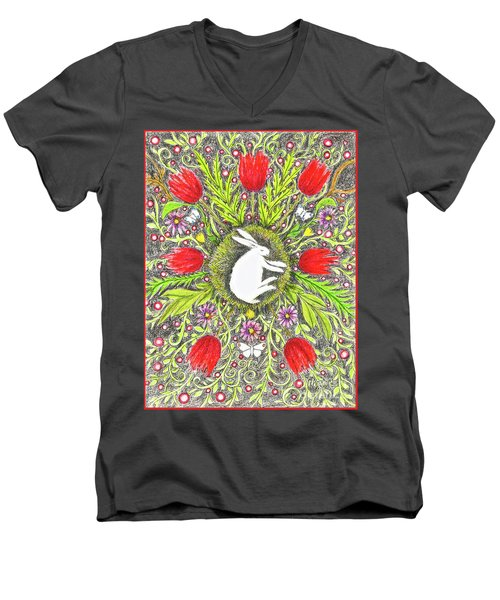 Bunny Nest With Red Flowers And White Butterflies Men's V-Neck T-Shirt