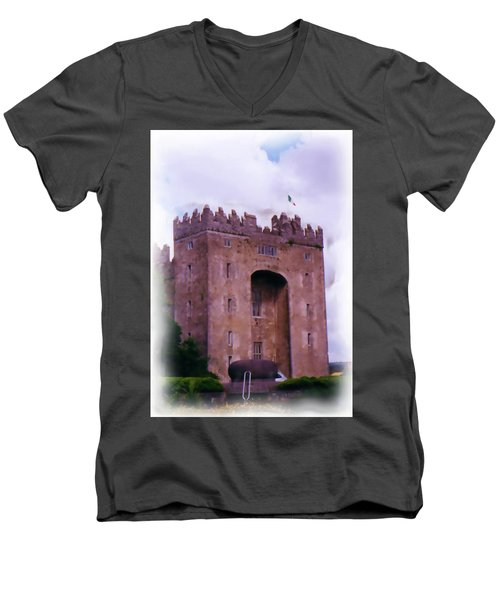 Bunratty Castle Painting Men's V-Neck T-Shirt