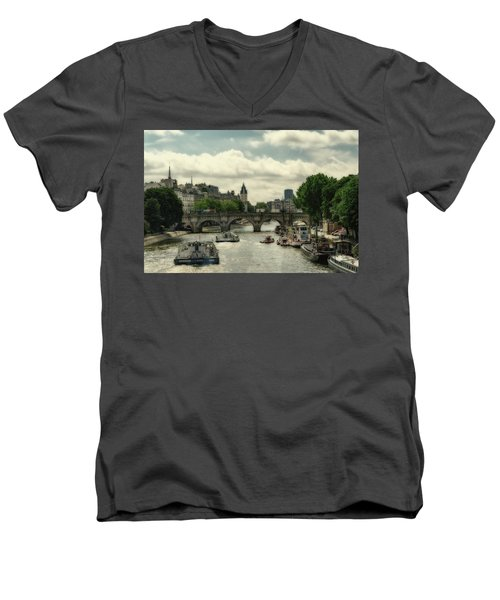 Busy Morning On The Seine Men's V-Neck T-Shirt