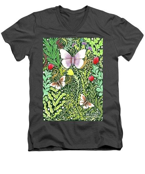 Butterflies In The Millefleurs Men's V-Neck T-Shirt
