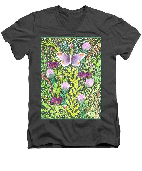 Butterfly In The Millefleurs Men's V-Neck T-Shirt