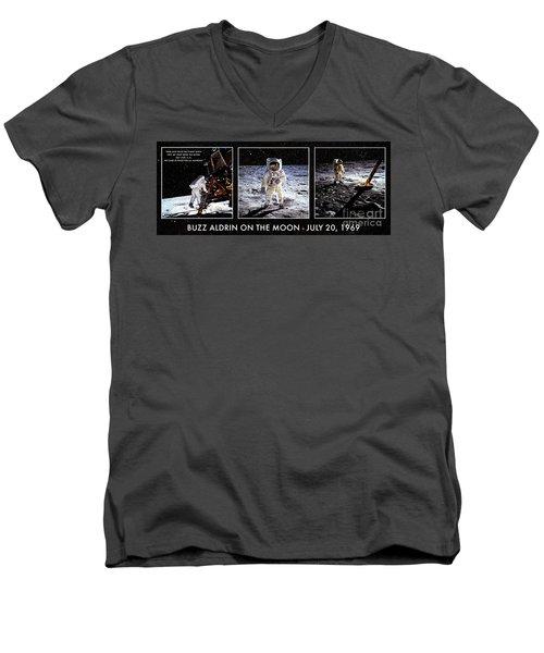 Buzz Aldrin On The Moon Men's V-Neck T-Shirt