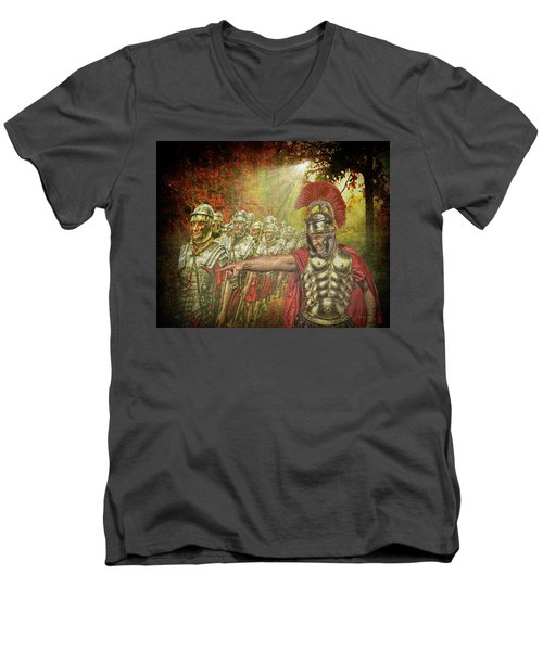 Men's V-Neck T-Shirt featuring the digital art Caesar by Mark T Allen