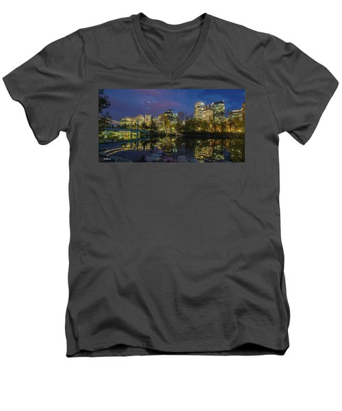 Men's V-Neck T-Shirt featuring the photograph Calgary Skyline At Night by Tim Kathka
