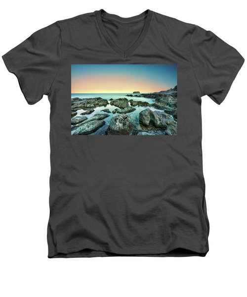 Calm Rocky Coast In Greece Men's V-Neck T-Shirt