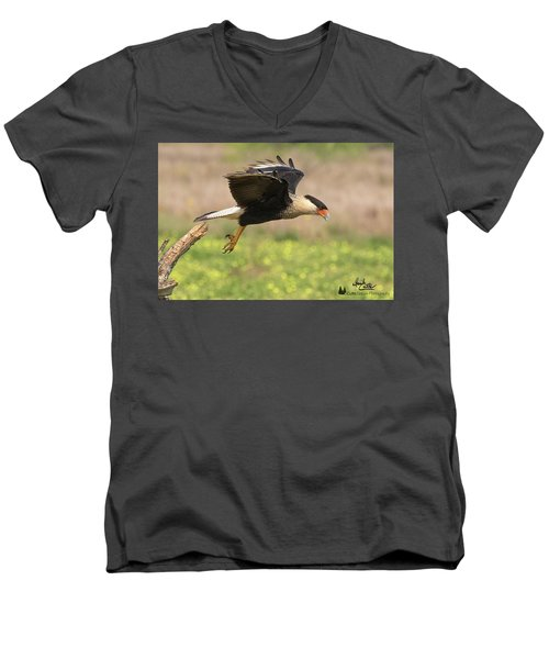 Caracara Taking Off Men's V-Neck T-Shirt
