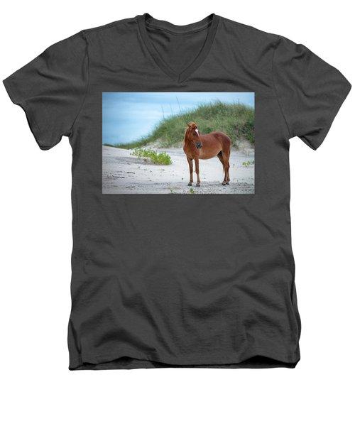 Carova Wild Horses - Colonial Spanish Mustangs Men's V-Neck T-Shirt