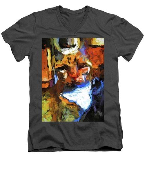 Cat Behind Cat In The Kitchen Men's V-Neck T-Shirt