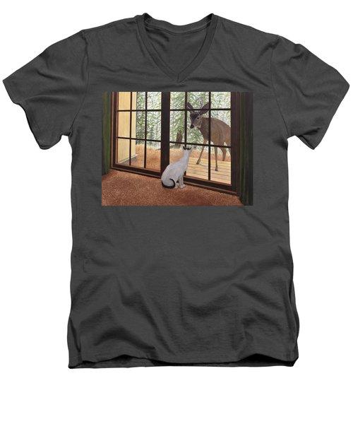 Cat Meets Deer Men's V-Neck T-Shirt