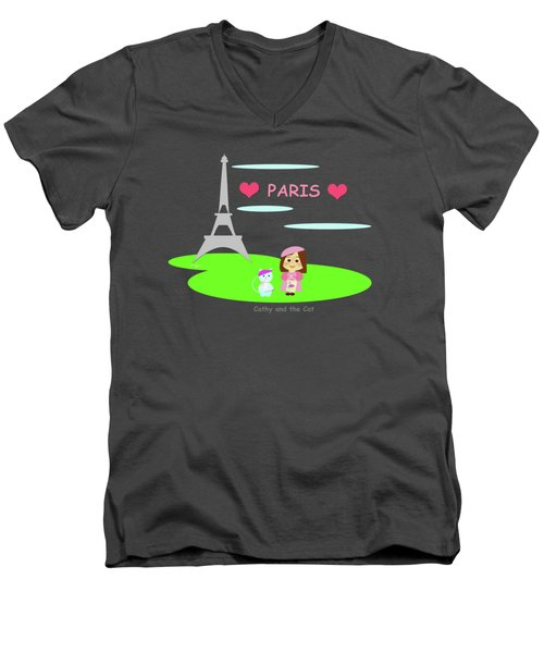 Cathy And The Cat In Paris Men's V-Neck T-Shirt