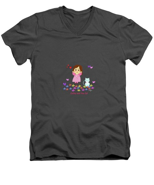 Cathy And The Cat Spring Is Coming Men's V-Neck T-Shirt