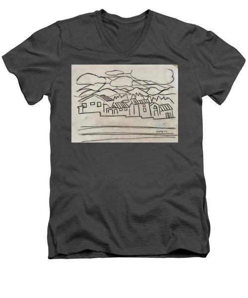 Charcoal Houses Sketch Men's V-Neck T-Shirt