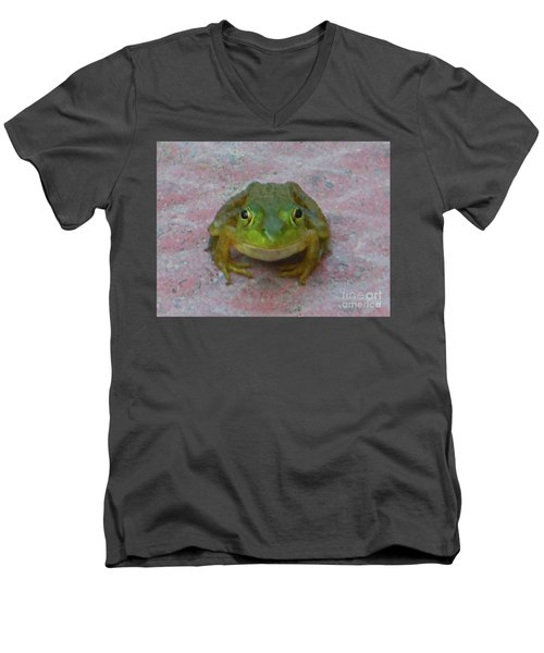 Men's V-Neck T-Shirt featuring the photograph Charming American Bullfrog by Rockin Docks