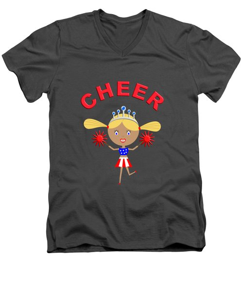 Cheerleader With Pom Poms And Cheer In Arched Text  Men's V-Neck T-Shirt