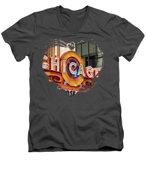 Chicago Theatre Marquee Men's V-Neck T-Shirt