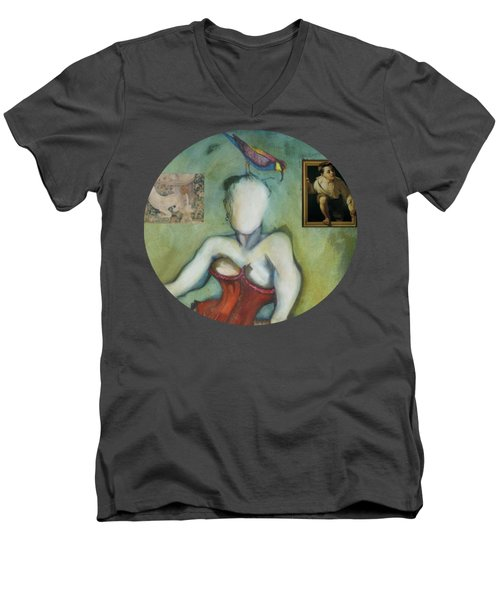 Chin Chin With An Imaginary Bird On Her Head Men's V-Neck T-Shirt