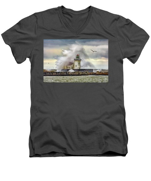 Cleveland Lighthouse Storm  Men's V-Neck T-Shirt