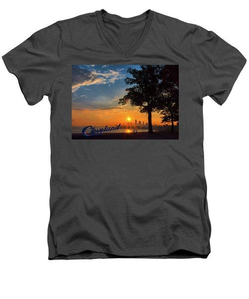 Cleveland Sign Sunrise Men's V-Neck T-Shirt