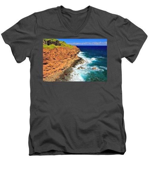 Cliff On Pacific Ocean Men's V-Neck T-Shirt