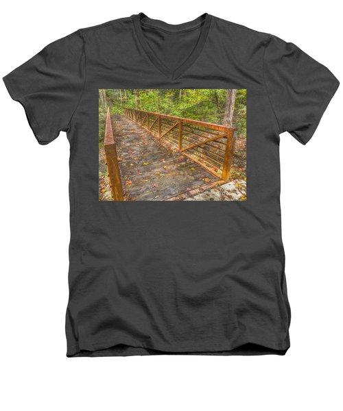 Close Up Of Bridge At Pine Quarry Park Men's V-Neck T-Shirt