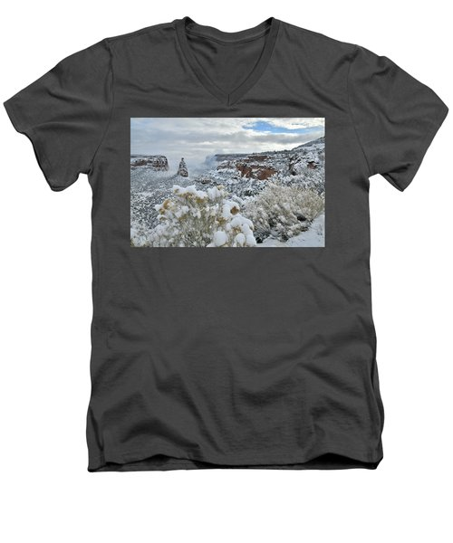 Clouds Break Over Snow Covered Independence Canyon Men's V-Neck T-Shirt