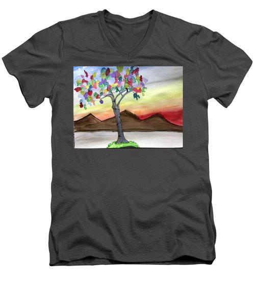 Colored Tree Men's V-Neck T-Shirt
