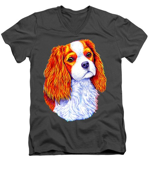 Colorful Cavalier King Charles Spaniel Dog Men's V-Neck T-Shirt