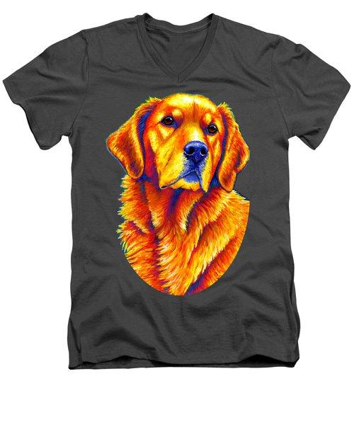 Colorful Golden Retriever Dog Men's V-Neck T-Shirt