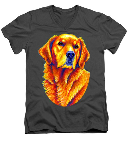 Colorful Golden Retriever Dog Men's V-Neck T-Shirt