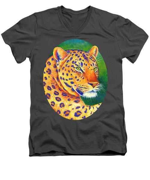 Colorful Leopard Portrait Men's V-Neck T-Shirt