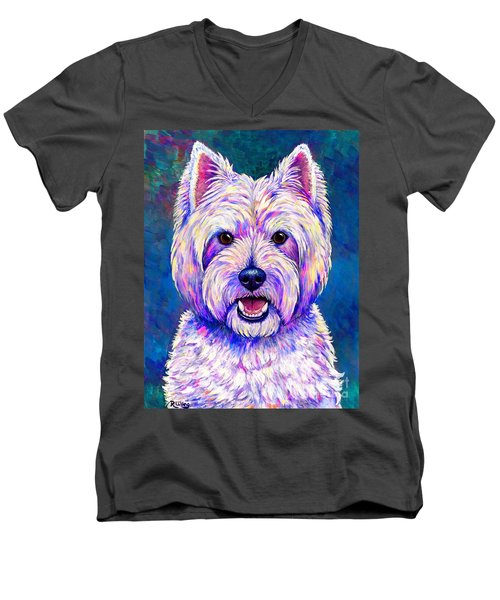 Colorful West Highland White Terrier Blue Background Men's V-Neck T-Shirt