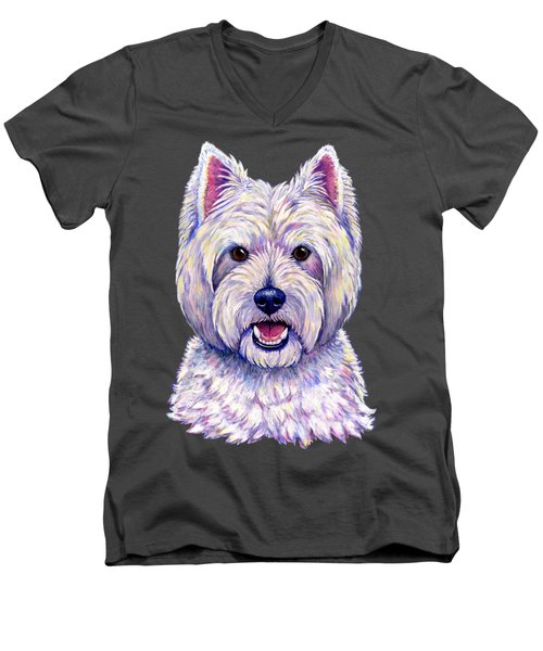 Colorful West Highland White Terrier Dog Men's V-Neck T-Shirt