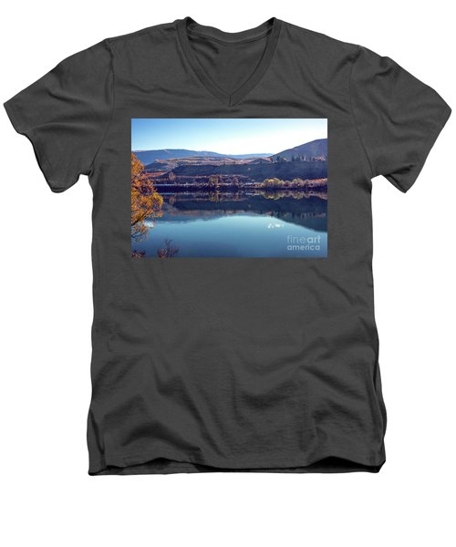 Men's V-Neck T-Shirt featuring the photograph Train Reflection by Mae Wertz