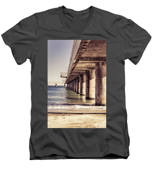 Columns Of Pier In Burgas Men's V-Neck T-Shirt