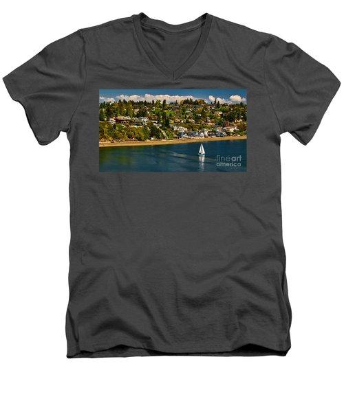 Commencement Bay,washington State Men's V-Neck T-Shirt