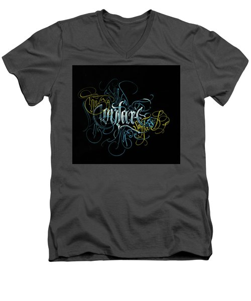 Contact. Calligraphic Abstract Men's V-Neck T-Shirt