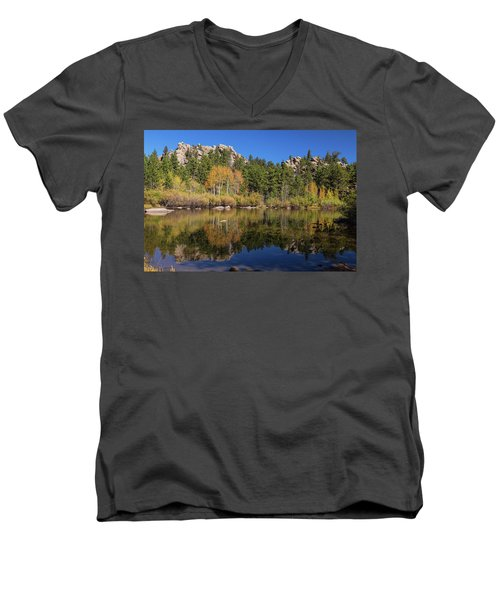Men's V-Neck T-Shirt featuring the photograph Cool Calm Rocky Mountains Autumn Reflections by James BO Insogna