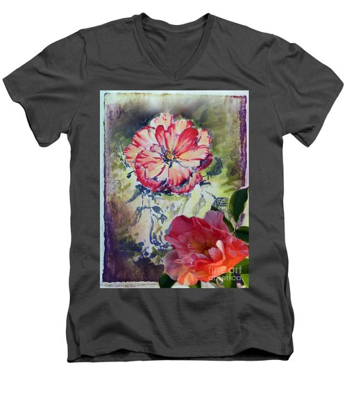 Men's V-Neck T-Shirt featuring the mixed media Copic Marker Rose by Ryn Shell