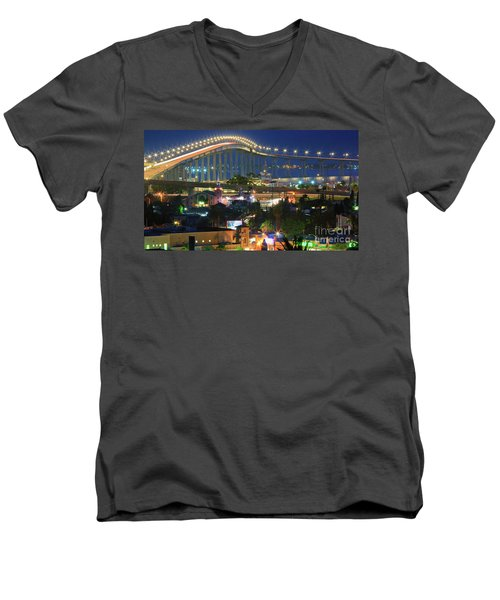 Coronado Bay Bridge Shines Brightly As An Iconic San Diego Landmark Men's V-Neck T-Shirt