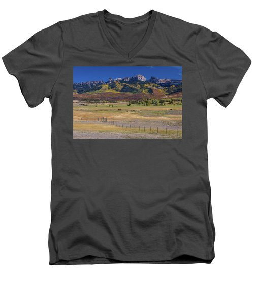 Men's V-Neck T-Shirt featuring the photograph Courthouse Mountains And Chimney Rock Peak by James BO Insogna