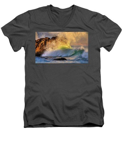 Crashing Wave Leo Carrillo Beach Men's V-Neck T-Shirt