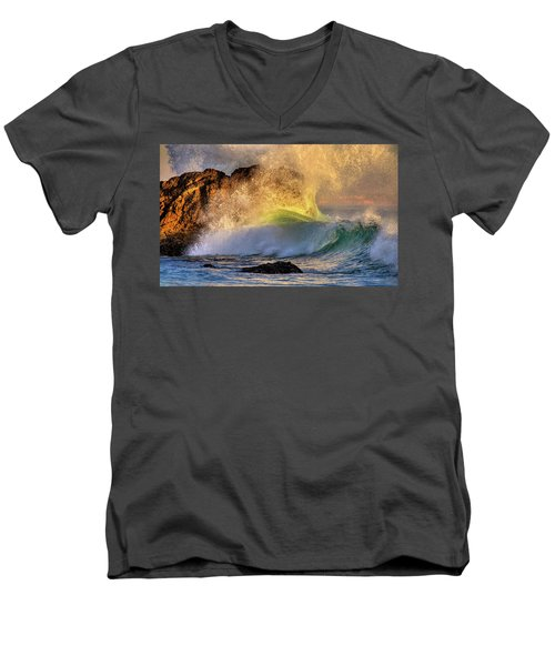 Crashing Wave Leo Carrillo Beach Men's V-Neck T-Shirt