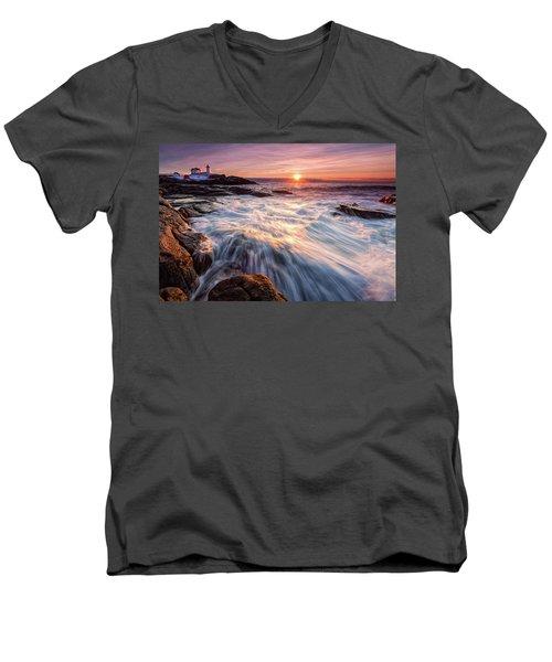 Crashing Waves At Sunrise, Nubble Light.  Men's V-Neck T-Shirt