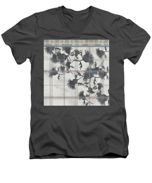 Cream Thistle Plaid Contrast Border Men's V-Neck T-Shirt